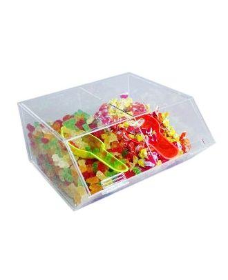 Présentoir alimentaire plexiglas 2 compartiments